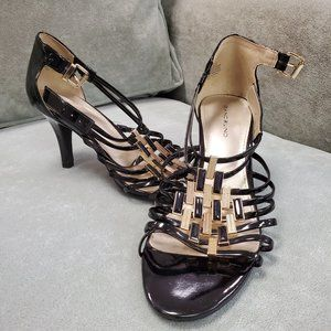BANDOLINO Gold & Black Sandal Slingback heels